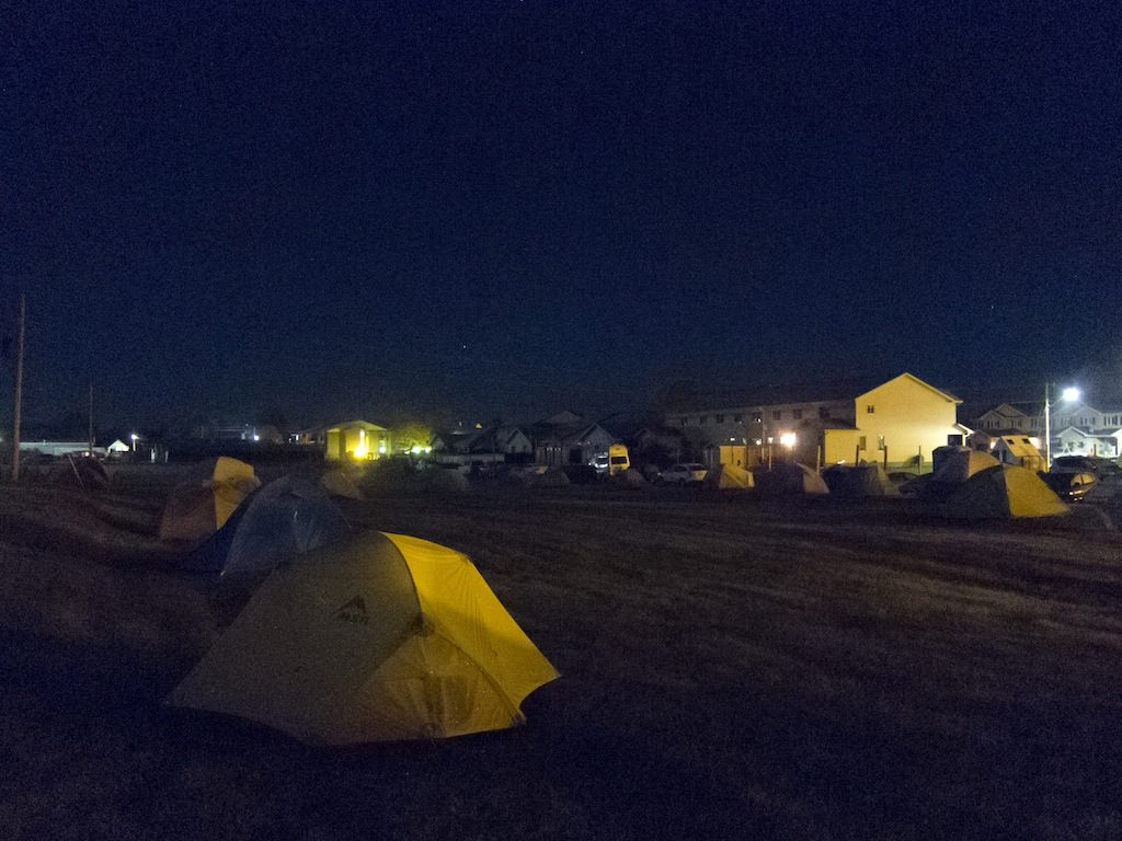 Tent village at night